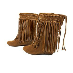 Carlos Falchi Chestnut Suede Fringe Avaa Boots